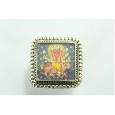Tribal Temple Jewelery 925 silver God Ganesha Painting Ring Sqaure