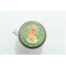 Tribal Temple Jewelery 925 silver God Ganesha Painting Ring size adjustable