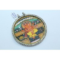 Tribal Temple Jewelry 925 Sterling Silver God Ganesha Painting Pendant.