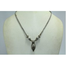Antique Rare India Alloyed Solid Silver Tribal Necklace Pendant snake Chain