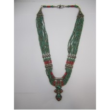 Antique Tibetan Tribal Jewelry, Silver Necklace, Real Natural Corals & Turquoise