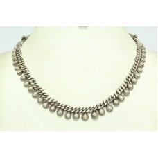 Alloyed Solid Silver India Tribal Necklace Chain 16 Inches