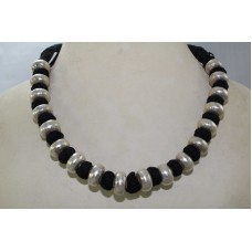 Vintage sterling silver 925 Round bead necklace ,wax inside beads, Black thread