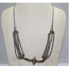 Antique Old Silver Tribal Necklace,Traditional Chain Design Necklace India..