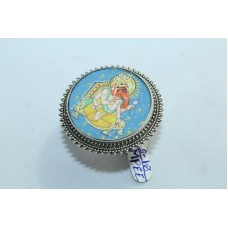 Tribal Temple Jewelery 925 silver God Ganesha Blue color Painting women's Ring