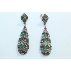 Fashion 925 Sterling Silver Earrings with Marcasite Emerald & Ruby Gemstone