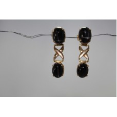 Handmade 18 Kt Yellow Gold Earrings with Real Natural Black Star Gemstones