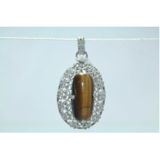 Handmade 925 Sterling Silver Pendant Natural Brown Tigers eye Gemstone 1.7 nch