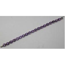 """925 Sterling Silver Real Natural Amethyst Bracelet Size 7.4"""""""
