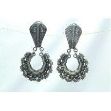 Antique Old Silver India Tribal Jewelry Earrings Snake Design