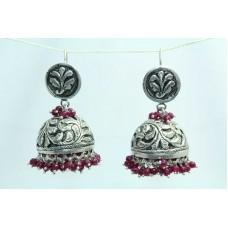 925 sterling Tribal silver earring Jhumkis Hallmarked Red Onyx Gemstone