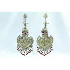925 sterling Tribal silver long Jhumkis earring gold plated Ruby Gemstone