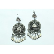 Antique Old Silver India Tribal Jewelry Earrings Peacock Design