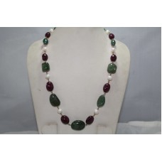 Beautiful 1 Strang Natural Antique Emerald Ruby Pearl 18 K Gold wire Necklace