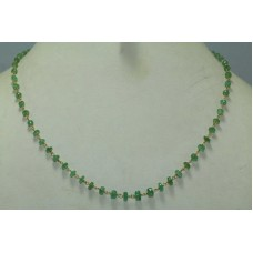 Beautiful 1 String Natural Real Emerald Gemstone Necklace 18K Gold wire Necklace