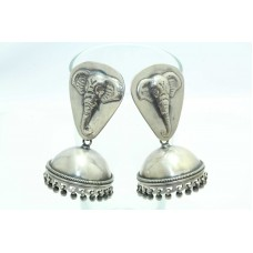 Antique Old Silver India Tribal Jewelry Jhumki Earrings Elephant Design