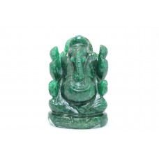 Hand crafted Natural Green Jade Stone God Ganesha Home Decorative Statue idol