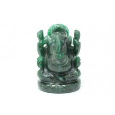 Handmade Natural dark Green Jade Stone God Ganesha Home Decorative Statue idol