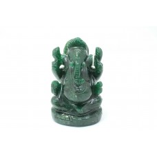 Handmade Natural dark Green Jade Stone God Ganesha Home Decorative Statue 3.3'