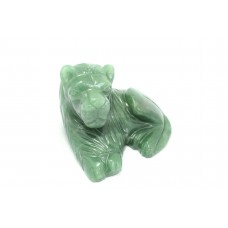 Hand Crafted Natural Green Jade gemstone Lion Figure Home Decorative Gift Item