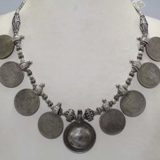 Antique Old Silver Tribal Necklace Old Coins George VI Necklace