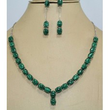 Handmade 925 stamped Sterling Silver Natural Malacite Gemstone Necklace Earring set