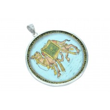 Temple Jewelry 925 Sterling Silver Camel figure Hand Painting Pendant 17.5 Gr