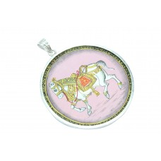 Temple Jewelry 925 Sterling Silver Horse figure Hand Painting Pendant 17.5 Gr