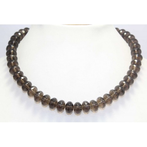 Rajasthan Gems Beautiful Single Line Natural Brown smoky quartz Beads Stones NECKLACE 16.5 inch