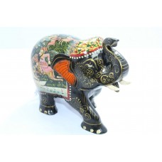 Handicraft Wooden Elephant Hand Painting hunting scene Home Decorative gift