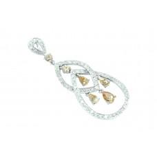 Handmade 925 Sterling Silver dangle Pendant white and golden zircon stones