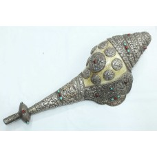 Silver Conch Shell Trumpet old tibetan turquoise coral home decorative