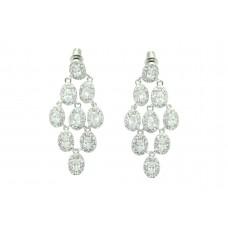 Women's 925 Sterling Silver designer Earrings white zircon stone 1.8'