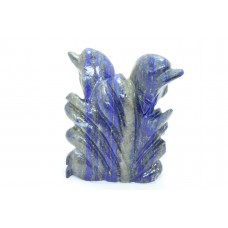 Handmade Natural Blue Lapiz Lazuli Stone Dolphin Fish Figure Home Decorative