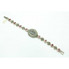 Women's 925 Sterling silver wrist watch Bracelet Marcasite Ruby stones 7.2'