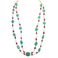 Multi Strand Line Green Quartz Red Quartz Pearls Beads NECKLACE.metal wire