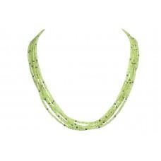 Natural semi precious green peridot silver Beads Necklace multi Strand 21 inch