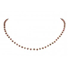 Natural Red Ruby white pearl beads stone single line Necklace 18 K Gold wire