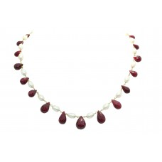 Natural Emerald ruby pearl beads stone single line Necklace 18 K Gold wire