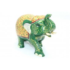 Handicraft Wooden Green Elephant Hand Painting Gold color Decorative gift item