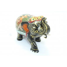 Handicraft Wooden Elephant Hand Painting hunting scene 3' Home Decorative