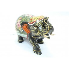 Handicraft Wooden Elephant Hand Painting Lion hunting scene 3' Home Decorative