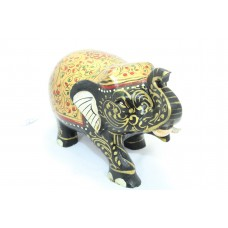 Handicraft Wooden Elephant Hand Painting Leafs Gold Red color Home Decorative