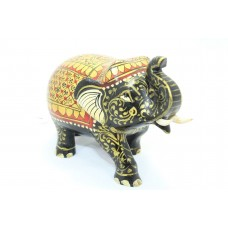 Handicraft Wooden Black Elephant Hand Painting Red color Home Decorative Gift
