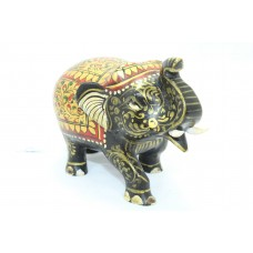 Handicraft Wooden Black Elephant Hand Painting Red color Home Decorative 3'