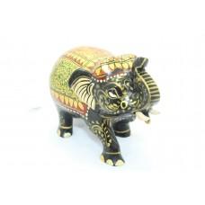 Handicraft Wooden Black Elephant Hand Painting Red green color Home Decorative