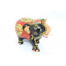 Handicraft Wooden Black Red Elephant Hand Painting Home Decorative gift 3'