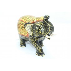 Handicraft Wooden Black Elephant Hand Painting Gold color Decorative gift item