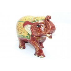 Handicraft Wooden Red Elephant Hand Painting Gold color Decorative gift item