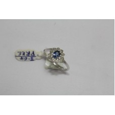 925 Sterling silver Women's ring Real Blue Sapphire & Diamond Ring Size No 12